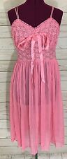 True Vintage Gm Union Made Pink Peignoir Negligee Nightie Sheer Lace Size 34 S/M