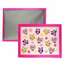 Lap Tray Bed Serving Wood Laptop Insulated Cushion Pink Framed Owl Pattern