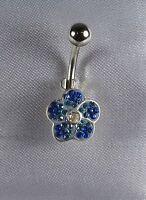 Piercing de nombril Fleur Crystal Bleu montés sur argent tige 316l