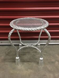 Rope and Tassel Seat Hollywood Regency Italian Guilt Bench Silver-Leaf