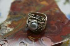 Israel Sterling Silver Modernist Wide Band Ring with a Pearl Accent {89}