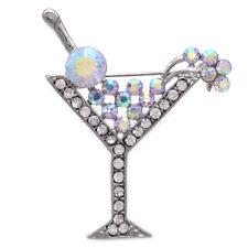 Party Brooch Pin Women Jewelry Aurora Borealis Cherry Martini Glass Cocktail