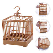 Plastic Bird Display Cage Parrot Cage with Base Tray Hanging Hook Standing Pole