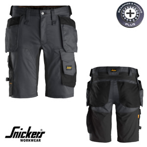 """Snickers 6141 Black / Steel Stretch Shorts Holster Pockets Work Sizes 30"""" - 50"""""""