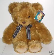 """Vintage Tagged FAO F.A.O Schwarz 18"""" Truffles Brown Teddy Bear Checked Bowtie"""