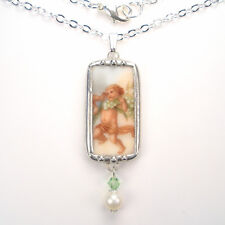 Cherub Necklace Broken China Jewelry Lily of the Valley Vintage Charm Pendant