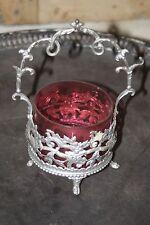 Ancien vide poche - coupe - bocal - pot - en métal et verre - style anglais