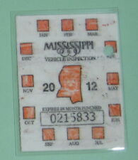 2012 Mississippi Vehicle Inspect Registration Tax License Decal Sticker Permit