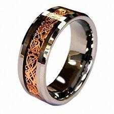 R4U 8mm Celtic Dragon Rose Gold Inlay Tungsten Carbide Men Unisex Wedding Band