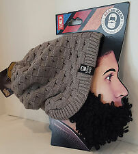 Beard Head Hat Curly Atticus Gray Slouch Style Beanie With Black Removable Beard