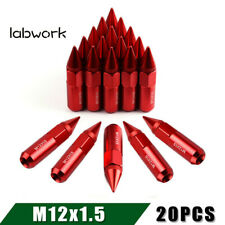 20 Aluminum 12X1.5 Extended Spike Lug Nuts for Mazda Honda Red