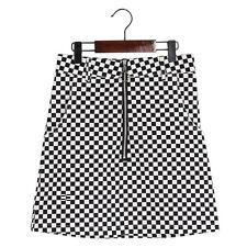 High Waist Metal Buckle Zipper Mini Plaid Punk Skirt Black White Womens Summer
