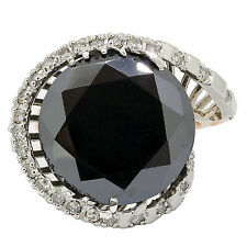 Black Diamond Cocktail Ring 11.87ct Pink and White 14k Gold