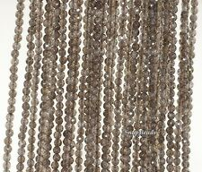 """3MM SMOKY QUARTZ GEMSTONE GRADE AA LIGHT BROWN FACETED ROUND LOOSE BEADS 15.5"""""""