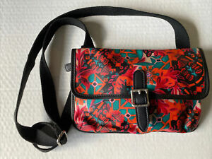 Fossil Coated Canvas Flap Snap Purse Shoulder Bag Crossbody Floral Multicolor