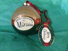 MERRY CHRISTMAS to MARISSA Paper Mache Ball Ornament STOCKING STUFFER Teacher