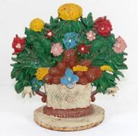 Aintique Cast Iron Floral Flower Basket Door Stop Doorstop