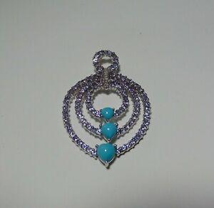10K White Gold 101 Round Amethyst & Diamond Pendant w Heart Shape Turquoise 54-M