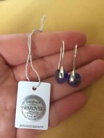 Sterling Silver Earrings With Blue Heart Crystals From Swarovski RRP £75 BNWT