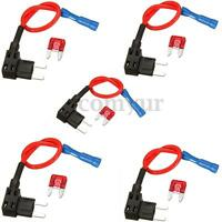 5 X Add A Circuit Mini Blade Fuse Splice Holder ATM APM Piggy Back Fuses Tap 12V