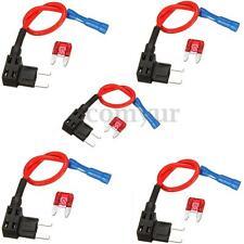 5 X Add A Circuit Mini Blade Fuse Splice Holder ATM APM Piggy Back Fuses Tap 12V