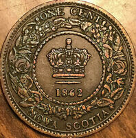 1862 NOVA SCOTIA LARGE 1 CENT PENNY COIN - Excellent example!