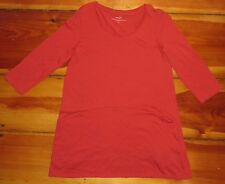 PURE JILL Curved Seam Tunic 3/4 Sleeve Tee red Size extra Small