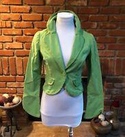VTG 1980s Neon Green Light Cropped Bolero Shrug Layering Blazer Jacket sz Sm/Med
