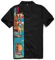 Mens Retro Bowling Shirts Plus Size Work Shirts Rockabilly Clothing