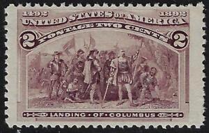 US 1892 TWO CENTS LANDING OF COLUMBUS Sc 231 HUGE JUMBO MARGINS ORIGINAL GUM NH