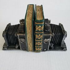 Pair Of Vintage Camera Plaster Bookends Accordion Ikeda Anba Reproduction NWT