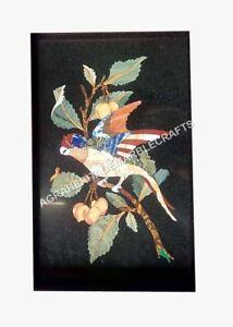 "24""x15"" Coffee Cafe Marble Table Top Marquetry Inlay Bird Art Hallway Decor E504"