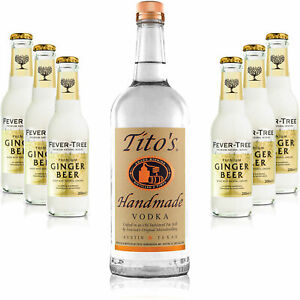 Moscow Mule Set - Titos Handmade Vodka 0,7l 700ml (40% Vol) + 6x Fever Tree Gin