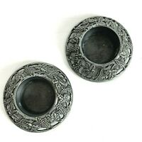Vintage Pewter Tea Light Candle Holders Grape Vine Tealite Pair Victorian