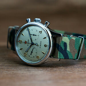 Seagull 1963 40mm Watch Pilot Camouflage Military Nylon Mechanical Chronograph