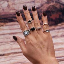 5pcs/Set Boho Women Stack Plain Above Knuckle Ring Midi Finger Tip Rings Silver