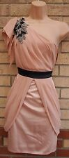 LIPSY DUSTY PINK DRAPE GRECIAN ONE SHOULDER BEADED PARTY TUBE TULIP DRESS 10 S