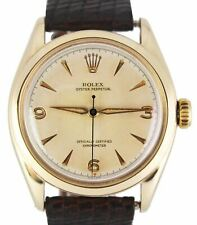 Vintage Rolex Oyster Perpetual 14K Solid Gold Patina Bubbleback 6084 34mm Watch