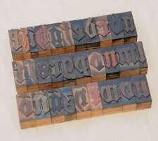 "A-Z alphabet 1.42"" letterpress wooden printing blocks wood type Blackletter"