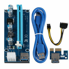 USB 3.0 Pcie PCI-E Express 1x To 16x Extender Riser Card Adapter Power Cable blu