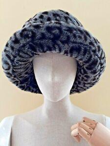 Harrods Faux Leopard Fur Black Blue Grey S/M Hat