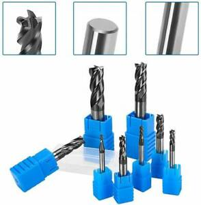 8pcs HHS Steel CNC Lathe Straight Shank 4 Flute End Set Milling Cutter Tool