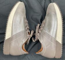 Aquatalia Two-Tone Gray Shiny Leather Women's Sneakers (US SIZE 8.5)
