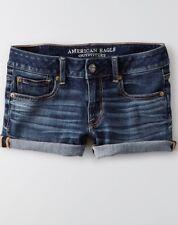 Womens AEO American Eagle DENIM X4 Intensely Dark Wash Shortie Shorts -  6