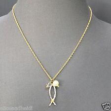 Gold Finish Chain Hammered Silver Fish Pearl Religious Pendant Necklace 0309786f1c34