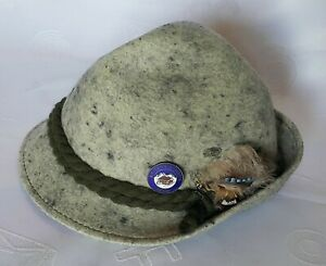 VINTAGE AUTHENTIC OKTOBERFEST DIRNDL TYROL GRAY WOMEN'S FEDORA HAT:US7 1/8;EU57