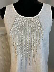 J Jill Womens White Linen Embroidered Pleated Front Top Blouse Size XS