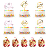 26 PCS Happy Birthday Acrylic Cake Stick Topper Cupcake Dessert Decor Supplies