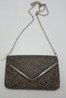 Evening Cell Phone Clutch Purse Black Iridescent Clear Rhinestone Bling Bag NEW