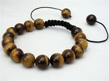 Men's Shambhala bracelet all 10mm NATURAL TIGER EYE STONE GEMS ROUND BEADS